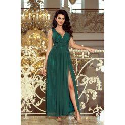 Marion MAXI szyfonowa sukienka z rozcięciem - ZIELEŃ BUTELKOWA. Różowe długie sukienki marki numoco, l, z długim rękawem, oversize. Za 319,98 zł.