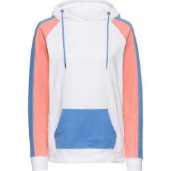 Bluzy damskie: Bluza dresowa bonprix biało-niebiesko-łososiowy melanż