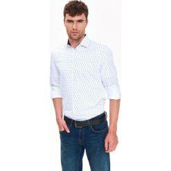 KOSZULA DŁUGI RĘKAW MĘSKA SLIM FIT. Szare koszule męskie na spinki Top Secret, na jesień, m, z długim rękawem. Za 139,99 zł.