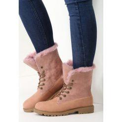 Buty zimowe damskie: Różowe Traperki Happy Vogue