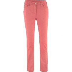 Wygodne spodnie SKINNY bonprix rabarbarowy. Czerwone rurki damskie bonprix. Za 49,99 zł.