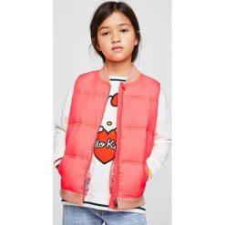 Mango Kids - Bezrękawnik dziecięcy 110-164 cm. Różowe kurtki dziewczęce przeciwdeszczowe Mango Kids, z materiału. W wyprzedaży za 49,90 zł.