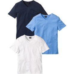 Koszulki męskie: T-shirt z dekoltem w serek (3 szt.) Regular Fit bonprix niebieski + biały + ciemnoniebieski