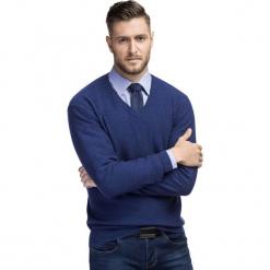 Sweter VINCENZO SWNS000218. Niebieskie swetry klasyczne męskie marki bonprix, m, z nadrukiem, z klasycznym kołnierzykiem, z długim rękawem. Za 249,00 zł.