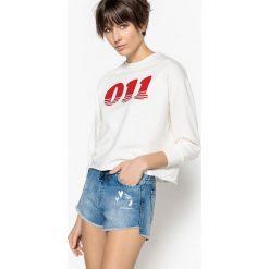 Bluza z długim rękawem. Szare bluzy damskie marki La Redoute Collections, m, z bawełny, z kapturem. Za 125,96 zł.