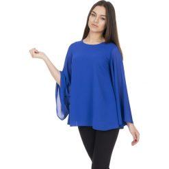 Bluzki asymetryczne: Niebieska luźna bluzka z rozkloszowanymi rękawami BIALCON