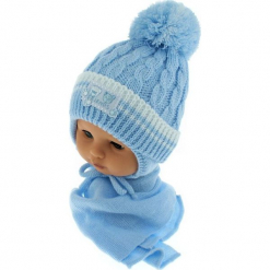 Czapka niemowlęca z szalikiem CZ+S 150D. Niebieskie czapeczki niemowlęce Proman. Za 39,76 zł.