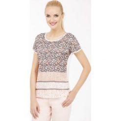 T-shirt w łączkę. Brązowe t-shirty damskie marki Monnari, w paski, z materiału, średnie. Za 39,96 zł.