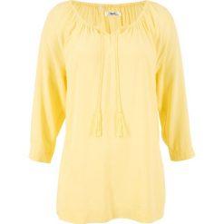 Bluzki, topy, tuniki: Bluzka z dekoltem carmen, rękawy 3/4 bonprix jasnożółty