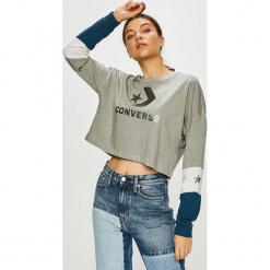 Converse - Bluzka. Szare bluzki asymetryczne Converse, l, z nadrukiem, z bawełny, casualowe, z okrągłym kołnierzem. Za 169,90 zł.