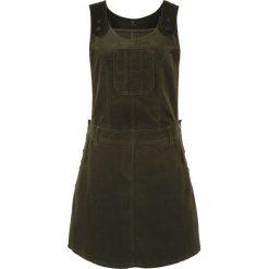 Sukienka ogrodniczka sztruksowa bonprix bardzo ciemny oliwkowy. Brązowe sukienki marki DOMYOS, xs, z bawełny. Za 149,99 zł.
