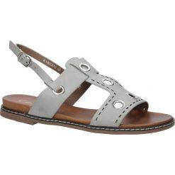 Szare modne sandały z ozdobnymi metalowymi kółkami Casu K18X2/G. Szare sandały damskie Casu. Za 29,99 zł.