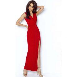 Czerwona Wieczorowa Sukienka z Głębokim Dekoltem V. Brązowe długie sukienki marki Mohito, l, z kopertowym dekoltem, kopertowe. Za 199,90 zł.