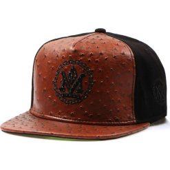 Czapka męska snapback czarna (hx0192). Czarne czapki z daszkiem męskie marki Dstreet, z haftami, ze skóry ekologicznej, eleganckie. Za 69,99 zł.