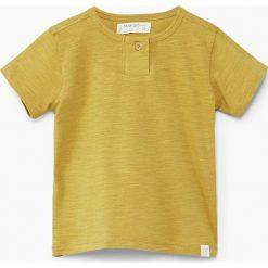 Mango Kids - T-shirt dziecięcy Pani 80-104 cm. Żółte t-shirty chłopięce Mango Kids, z bawełny, z okrągłym kołnierzem. W wyprzedaży za 19,90 zł.