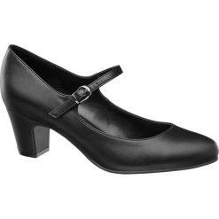 Czółenka damskie Graceland czarne. Czarne buty ślubne damskie marki Graceland, w kolorowe wzory, z materiału. Za 89,90 zł.