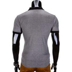 KOSZULKA MĘSKA POLO BEZ NADRUKU S847 - CZARNA. Czarne koszulki polo marki Ombre Clothing, m, z bawełny, z kapturem. Za 35,00 zł.