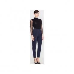 Spodnie K397 Granat. Niebieskie spodnie z wysokim stanem Lenitif. Za 129,00 zł.