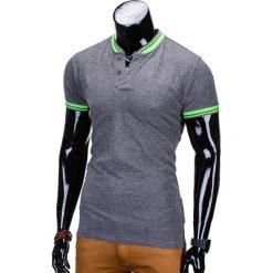 T-SHIRT MĘSKI BEZ NADRUKU S661 - GRAFITOWY. Szare t-shirty męskie z nadrukiem marki Ombre Clothing, m, z bawełny, ze stójką. Za 29,00 zł.