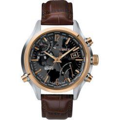 Biżuteria i zegarki męskie: Zegarek Timex Męski T2N942 IQ Traveller Series World Time brązowy