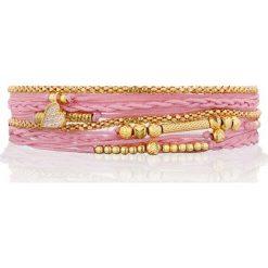 Nayla - Bransoletka. Różowe bransoletki damskie na nogę Nayla, pozłacane. W wyprzedaży za 239,90 zł.