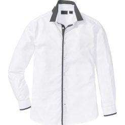 Koszula Regular Fit bonprix biały. Białe koszule męskie na spinki bonprix, m, z kontrastowym kołnierzykiem. Za 89,99 zł.