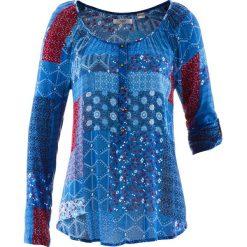 Tunika kreszowana, długi rękaw bonprix niebieski Chagall wzorzysty. Niebieskie tuniki damskie z długim rękawem bonprix, z nadrukiem. Za 89,99 zł.