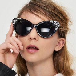 Okulary przeciwsłoneczne damskie aviatory: Okulary przeciwsłoneczne z kryształkami - Czarny