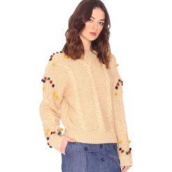 Kardigany damskie: Sweter z okrągłym dekoltem, gruby splot