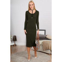 Sukienki: Khaki Sukienka w Paski 1065