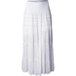 Długa spódnica bonprix biały. Białe długie spódnice bonprix, na lato, w paski, z koronki. Za 99,99 zł.