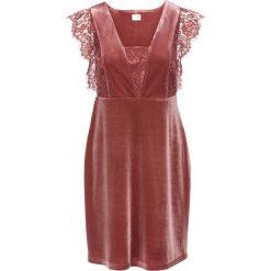 Sukienki: Sukienka aksamitna z koronką bonprix ceglastoczerwony