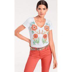 Odzież damska: Koszulka w kolorze białym ze wzorem
