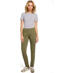 Spodnie dresowe damskie: Khaki Dresowe Spodnie z Dzianiny