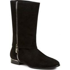 Kozaki NORD - 1629W032T Czarny. Czarne buty zimowe damskie Nord, ze skóry, na obcasie. W wyprzedaży za 349,00 zł.