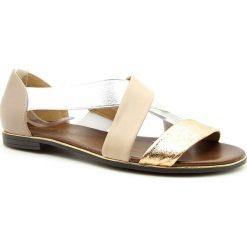 Rzymianki damskie: Sandały damskie na gumce beżowe Jezzi