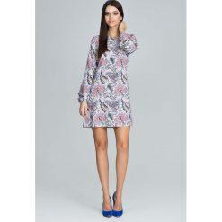 Casualowa Sukienka z Bufiastym Rękawem z Barwnym Wzorem  - Wzór 79. Szare sukienki na komunię marki Molly.pl, na randkę, l, z tkaniny, z długim rękawem. Za 149,90 zł.