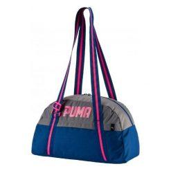 Torby podróżne: Puma TORBA PUMA FUNDAMENTALS SPORTS DAMSKA 07441103 niebiesko-szara, rózowe logo – 75364