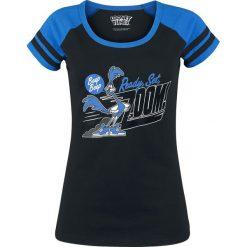 Looney Tunes Road Runner - Zoom Koszulka damska czarny/niebieski. Czarne bluzki asymetryczne Looney Tunes, l, z nadrukiem, z okrągłym kołnierzem. Za 62,90 zł.