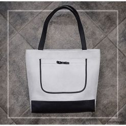 Shopper bag damskie: DUŻA TORBA – SHOPPER BAG – szara