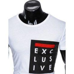 T-shirty męskie: T-SHIRT MĘSKI Z NADRUKIEM S882 - BIAŁY