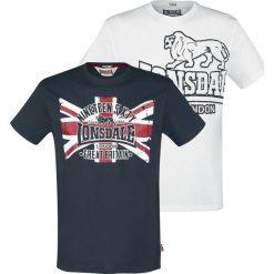 Lonsdale London Doublepack Portencross T-Shirt czarny/biały. Białe t-shirty męskie z nadrukiem marki Lonsdale London, s, z okrągłym kołnierzem. Za 99,90 zł.