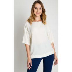 Luźna bluzka ecru z rękawem 3/4 BIALCON. Niebieskie bluzki nietoperze marki bonprix. W wyprzedaży za 108,00 zł.