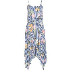 Sukienka z dłuższymi bokami bonprix biel wełny - niebieski w paski. Białe sukienki balowe marki bonprix, w paski, z wełny. Za 49,99 zł.
