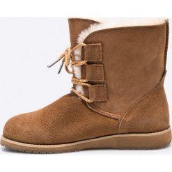 Emu Australia - Botki. Brązowe buty zimowe damskie EMU Australia, z materiału, z okrągłym noskiem. W wyprzedaży za 299,90 zł.