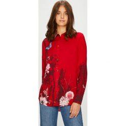 Desigual - Koszula. Czerwone koszule damskie marki Desigual, l, z tkaniny, casualowe, z klasycznym kołnierzykiem, z długim rękawem. W wyprzedaży za 199,90 zł.