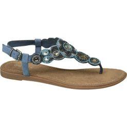 Sandały damskie Catwalk niebieskie. Niebieskie sandały damskie Catwalk, w geometryczne wzory, z materiału, na obcasie. Za 139,90 zł.