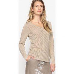 Swetry damskie: Sweter, dekolt w serek, len i bawełna