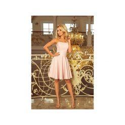 SUKIENKA GORSET. Różowe sukienki z falbanami marki numoco, l, z dekoltem w łódkę, oversize. Za 104,70 zł.