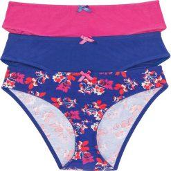 Figi: Figi (3 pary), bawełna organiczna bonprix z nadrukiem + ciemnoniebieski + różowy